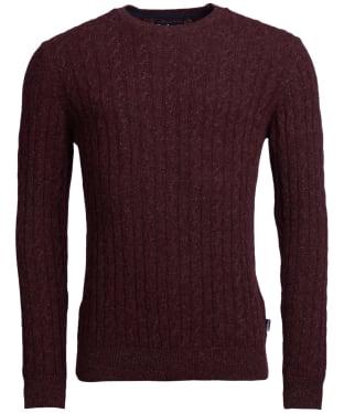 Men's Barbour Essential Cable Crew Neck Sweater - Wine