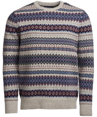 Men's Barbour Case Fairisle Crew Neck Jumper - Fog