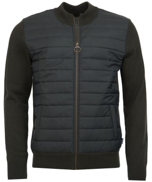 Men's Barbour Carn Baffle Zip Thru Quilted Sweater - Forest