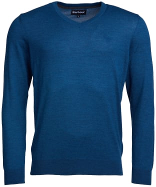 Men's Barbour Merino V Neck Sweater - Mid Denim