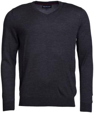 Men's Barbour Merino V Neck Sweater - Charcoal Marl