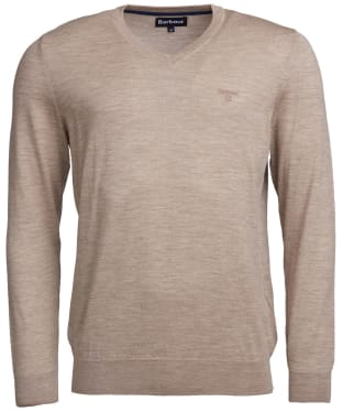 Men's Barbour Merino V Neck Sweater - Stone Marl