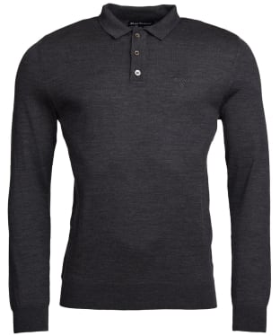 Men's Barbour Merino Long Sleeve Polo Top - Charcoal