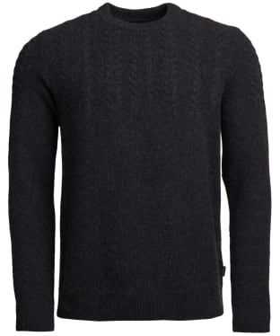 Men's Barbour Crastill Cable Knit Crew Neck Sweater - Charcoal