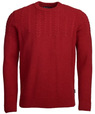 Men's Barbour Crastill Cable Knit Crew Neck Sweater - Rich Red