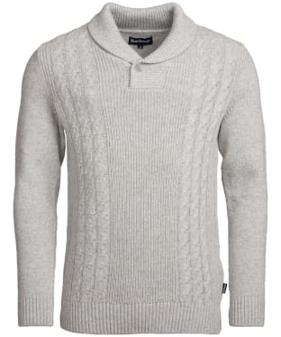Men's Barbour Wade Shawl Cable Knit Sweater - Light Grey Marl
