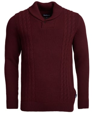 Men's Barbour Wade Shawl Cable Knit Sweater - Dark Merlot