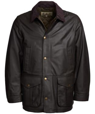 Men's Barbour Mendle Leather Jacket - Dark Olive