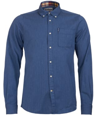Men's Barbour Herringbone 1 Tailored Shirt - Denim Blue