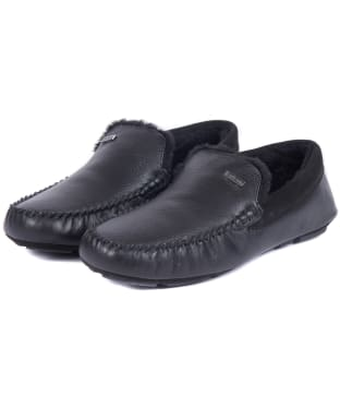 Men's Barbour Monty Slippers - Black Leather