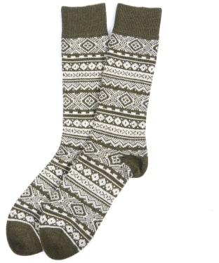 Men's Barbour Onso Fairisle Socks - Olive