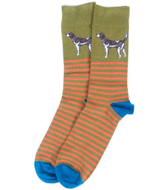 Men's Barbour Dog Stripe Socks - Olive / Blue