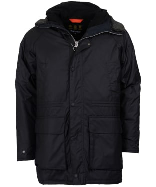 Men's Barbour Fenton Waxed Parka Jacket - Black