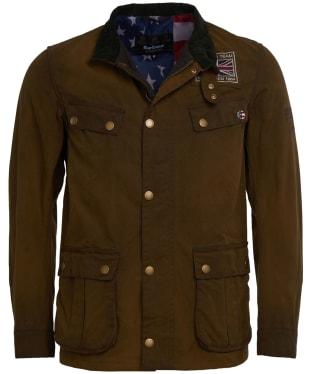 Men's Barbour International Steve McQueen Lester Washed Waxed Jacket - Olive