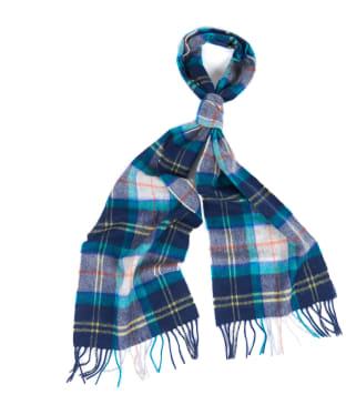 Barbour Tartan Merino Cashmere Wool Scarf - Navy/Bright Green