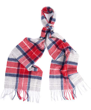 Barbour Tartan Merino Cashmere Wool Scarf - Red / Grey