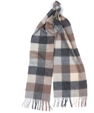 Barbour Large Tattersall Lambswool Scarf - Taupe / Beige