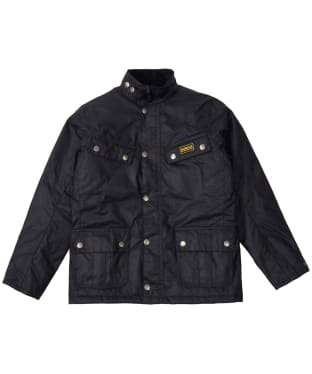 Boy's Barbour International Duke Waxed Jacket, 2-9yrs - Black