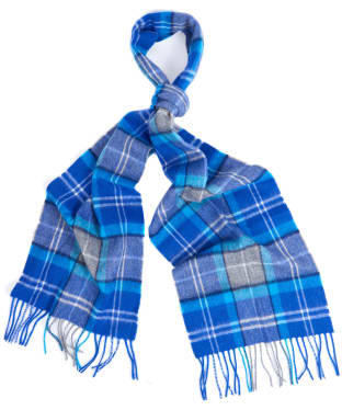 Barbour Tartan Merino Cashmere Wool Scarf - BRIGHT BLUE/GRY
