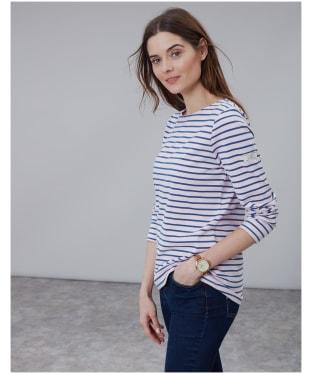 Women's Joules Long Sleeved Harbour Top - Pink / Navy Stripe
