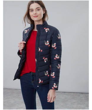 Women's Joules Harrogate Printed Padded Jacket - Navy Posy