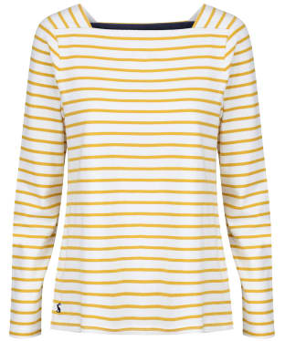 Women's Joules Matilde Jersey Top - Cream Gold Stripe