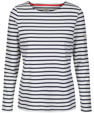 Women's Joules Long Sleeved Harbour Top - Cream / Navy Stripe