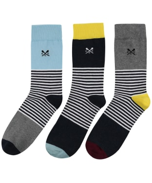 Men's Crew Clothing 3 Pack Socks - Block Stripe