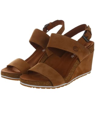 Women's Timberland Capri Sunset Wedge Sandals - Saddle Naturebuck
