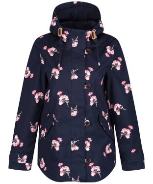 Women's Joules Coast Print Waterproof Jacket - Navy Posy