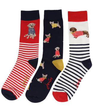 Women's Joules Brilliant Bamboo 3-Pack Socks - Red Multi Dogs