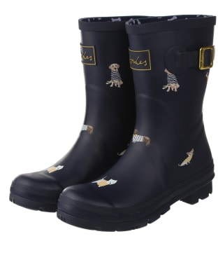 Women's Joules Molly Mid Height Wellies - Navy Harbour Dogs