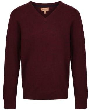 Men's Schoffel Lambswool V Neck Sweater - Damson