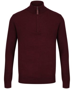 Men's Schoffel Lambswool ¼ Zip Sweater - Damson