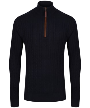 Men's Schoffel Cotton Cashmere Cable 1/4 Zip Sweater - Navy