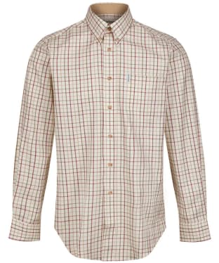 Men's Barbour Sporting Tattersall Shirt - Long Sleeve - New Red / Khaki