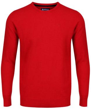 Men's Barbour Essential Lambswool Crew Neck Sweater - Chilli Red