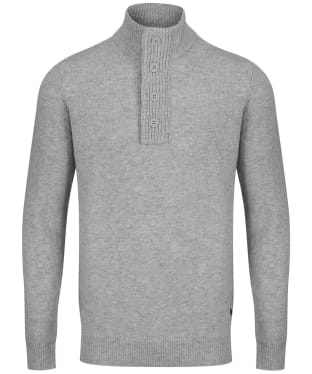 Men's Barbour Patch Half Button Lambswool Sweater - Fog