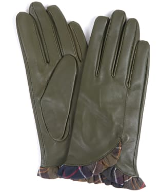 Women's Barbour Glenn Leather Gloves - Olive / Classic Tartan