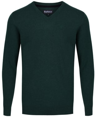 Men's Barbour Essential Lambswool V Neck Sweater - Bottle Green