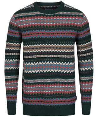 Men's Barbour Case Fairisle Crew Neck Jumper - Seaweed