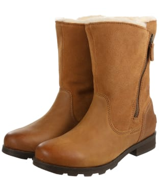 Women's Sorel Emelie Foldover Waterproof Leather Boots - Camel Brown
