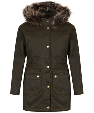 Girl's Barbour Thrunton Waxed Jacket, 6-9yrs - Olive