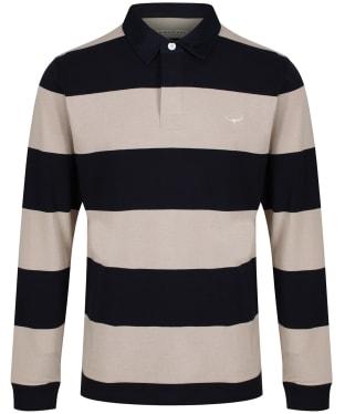 Men's R.M. Williams Tweedale Block Stripe Rugby Shirt - Grey / Blue