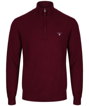 Men's GANT Super Fine Zip Sweater - Dark Burgundy Melange