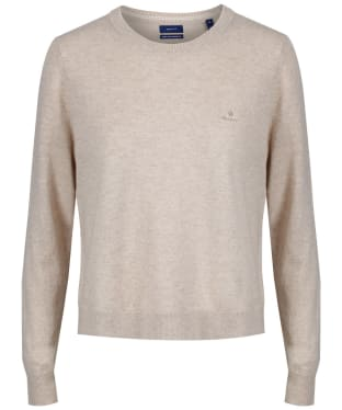 Women's GANT Lambswool Crew Neck Jumper - Dark Sand Melange