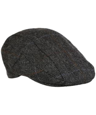 Men's Barbour Wool Crieff Flat Cap - Charcoal Country Check