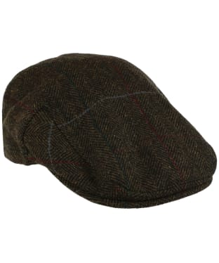 Men's Barbour Wool Crieff Flat Cap - Olive Country Tweed