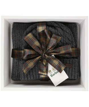 Men's Barbour Liskeard Beanie and Scarf Gift Set - Charcoal