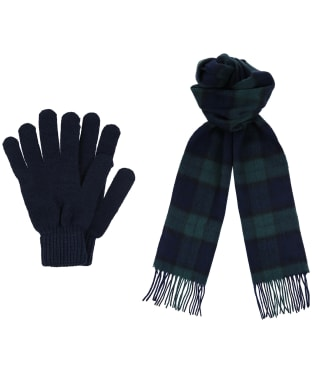 Men's Barbour Scarf and Glove Gift Box - Black Watch Tartan